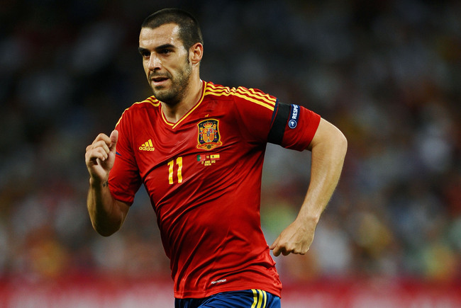 DONETSK, UKRAINE - JUNE 27: Alvaro Negredo of Spain in action during the UEFA EURO 2012 semi final match between Portugal and Spain at Donbass Arena on June 27, 2012 in Donetsk, Ukraine.  (Photo by Laurence Griffiths/Getty Images)