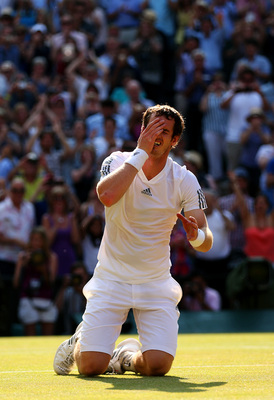 On the ground no longer: Andy Murray is at an all-time high in his career after winning the 2013 Wimbledon title.