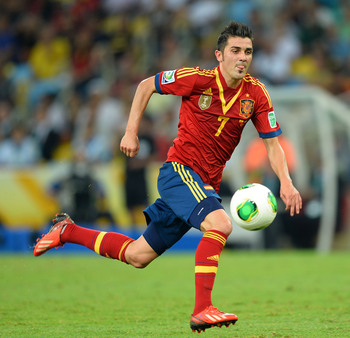 David Villa in action at the Confederations Cup.