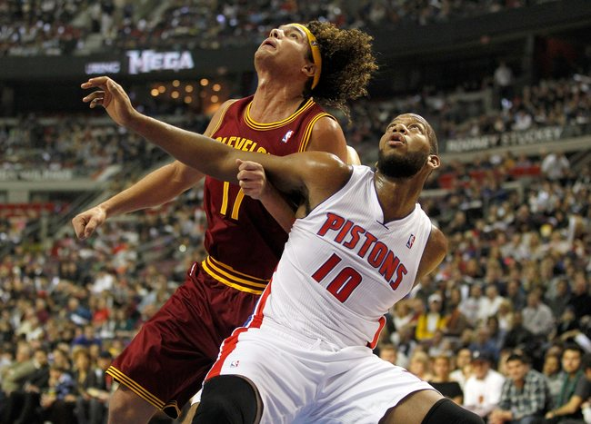 AUBURN HILLS, MI - DECEMBER 28: Greg Monroe #10 of the Detroit Pistons tries to block out Anderson Varejao #17 of the Cleveland Cavaliers  on December 28, 2011 at the Palace of Auburn Hills in Auburn Hills, Michigan. Cleveland won the game 105-89.  NOTE T