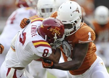 Already due to emerge in 2013, Texas will need Shiro Davis even more if Jackson Jeffcoat goes down. (Kin Man Hui/San Antonio-Express News)