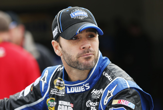 DAYTONA BEACH, FL - FEBRUARY 16: Jimmie Johnson, driver of the #48 Lowe's Chevrolet, during practice for the NASCAR Sprint Cup Series Daytona 500 at Daytona International Speedway on February 16, 2013 in Daytona Beach, Florida  (Photo by Sam Greenwood/Get
