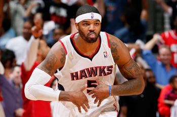 ATLANTA, GA - APRIL 29:  Josh Smith #5 of the Atlanta Hawks reacts after a three-point basket against the Indiana Pacers during Game Four of the Eastern Conference Quarterfinals of the 2013 NBA Playoffs at Philips Arena on April 29, 2013 in Atlanta, Georg