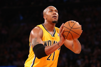 May 7, 2013; New York, NY, USA; Indiana Pacers power forward David West (21) shoots a free throw against the New York Knicks during the second half in game two of the second round of the 2013 NBA Playoffs at Madison Square Garden. Knicks win 105-79. Manda