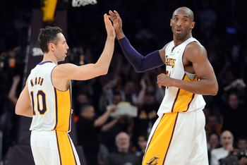 Steve Nash and Kobe Bryant of the LA Lakers