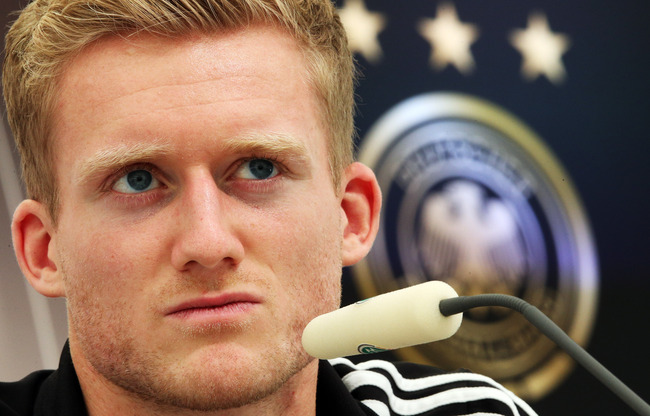 GDANSK, POLAND - JUNE 23:  Andre Schuerrle of Germany attends a press conference at the Germany press centre on June 23, 2012 in Gdansk, Poland.  (Photo by Joern Pollex/Getty Images)