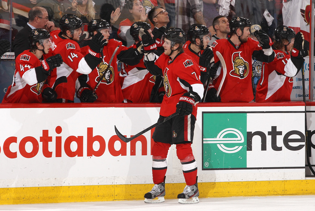 OTTAWA, CANADA - MAY 22: Kyle Turris #7 of the Ottawa Senators celebrates a first period goal against the Pittsburgh Penguins in Game Four of the Eastern Conference Semifinals during the 2013 NHL Stanley Cup Playoffs, at Scotiabank Place, on May 22, 2013