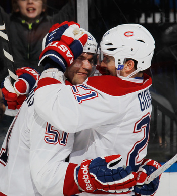 Montreal Canadiens David Desharnais (left) and Brian Gionta in happier times.