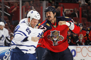 Former Florida Panther George Parros (right) and Toronto Maple Leaf Colton Orr.