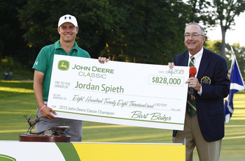 Jordan Spieth got the big check at the John Deere Classic.