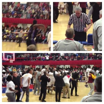 (Top left) Official Bill Sacco is seen waving off the shot. (Top right) Sacco tells scoring officials they will review the shot. (Bottom left) Mount Vernon believes they have won. (Video by Mike Zacchio)