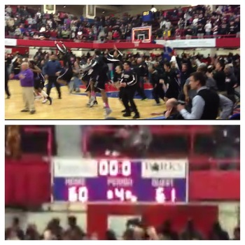 New Rochelle celebrates the overturned call (top) as the scoreboard changes (bottom). (Video by Mike Zacchio/The Journal News)