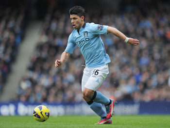 Sergio Aguero made 22 starts for Manchester City last season.