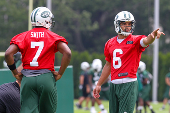 The Jets' starting quarterback battle will draw the most attention.
