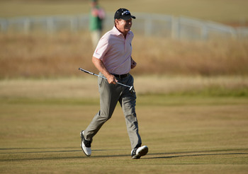 Tom Watson on the fairways of Muirfield last week.