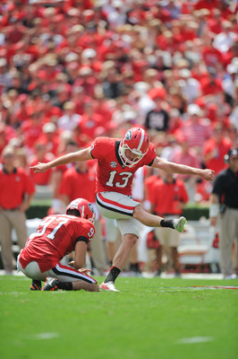 September 1, 2012; Athens, GA, USA; Georgia Bulldogs kicker Marshall Morgan (13) during the game against the Buffalo Bulls at Sanford Stadium. Mandatory Credit: Kevin Liles-USA TODAY Sports