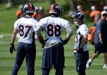 Demaryius Thomas and Eric Decker with Wes Welker