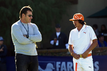 Nick Faldo chats with Rickie Fowler.