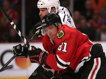 Marian Hossa's work ethic was a model for the second line last season.