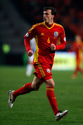 Vlad Chiriches in action for Romania.
