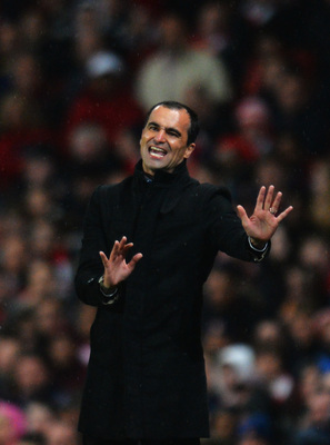 Roberto Martinez coaching one of his last matches for Wigan.