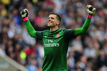 All smiles, but will Szczesny still be in goal against Villa later this month?