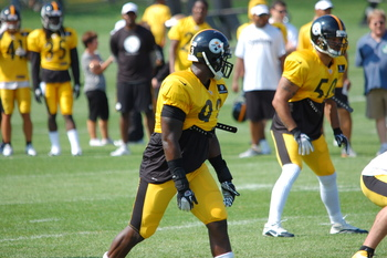 Jason Worilds is competing with Jarvis Jones for the starting right outside linebacker job. Photo Credit: Chris G.