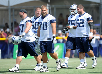Travis Frederick (No. 70) will be a key to the Cowboys' offensive line.
