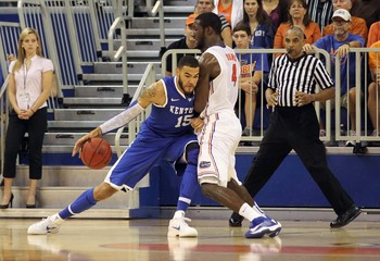 Kentucky's Willie Cauley-Stein tries to score against Florida Patric Young in a loss at Florida last season.