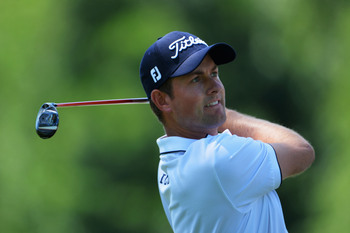 Webb Simpson is among those who suffered at the par-four fifth hole Saturday.