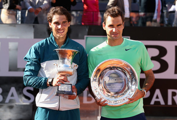 Rafael Nadal and Roger Federer at the trophy ceremony in Rome.