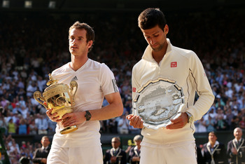 Andy Murray and Novak Djokovic during the 2013 Wimbledon trophy ceremony.