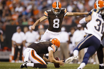 Kicking hopeful Brandon Bogotay in the Browns' preseason win over St. Louis.