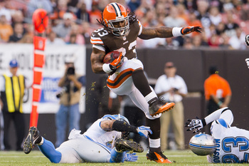 Browns running back Trent Richardson on his way to a 17-yard gain versus Detroit in preseason Week 2.