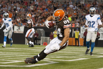 Browns tight end Jordan Cameron in his standout preseason performance versus the Lions.