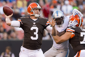 Brandon Weeden in preseason action against the Detroit Lions.