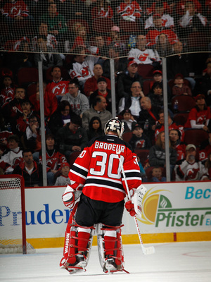 NEWARK, NJ - APRIL 20: Martin Brodeur #30 of the New Jersey Devils skates against the Florida Panthers at the Prudential Center on April 20, 2013 in Newark, New Jersey. The Devils defeated the Panthers 6-2,  (Photo by Bruce Bennett/Getty Images)