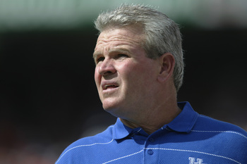 After his career with the Eagles, Guy Morriss became the University of Kentucky's head football coach from 2001-02, then coached Baylor from 2003-07.