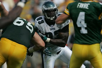 Jevon Kearse is a three-time Pro Bowler (1999-2001), but his defensive linemates in 2004 can't match up with the '80 Eagles' front line.