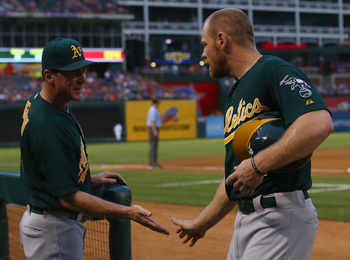 Brandon Moss should be ready for more high fives at Rangers Ballpark in Arlington.