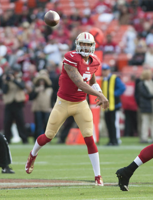 Colin Kaepernick fires a pass for one of his four completions.