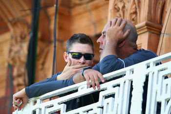 It's good to talk: but things are not about to get better any time soon for Australia skipper Clarke and coach Lehman.