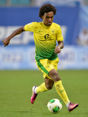 Willian in action for Anzhi Makhachkala.