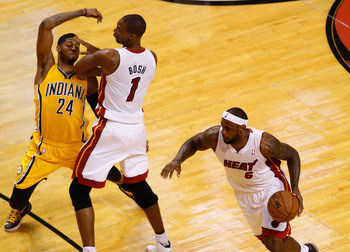 Here, Chris Bosh helped LeBron James with a pick, but it will also help if he picked up his own offense.