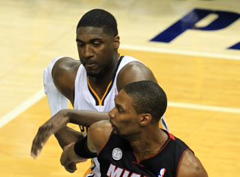 Roy Hibbert pushed Chris Bosh around at times during the Eastern Conference Finals.