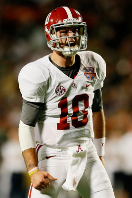 Alabama senior quarterback AJ McCarron during last year's BCS National Championship game.
