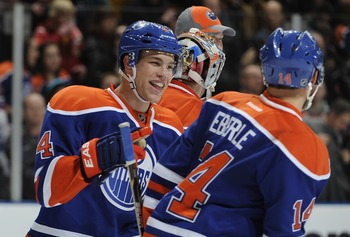 Taylor Hall and Jordan Eberle have emerged as leaders on the young Oilers team.