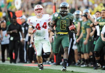 Oregon junior running back De'Anthony Thomas running for a touchdown in the 2012 Rose Bowl.