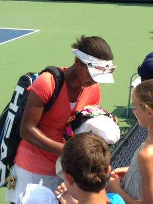 Vicky Duval signing autographs after her U.S. Open qualifying match on Tuesday.