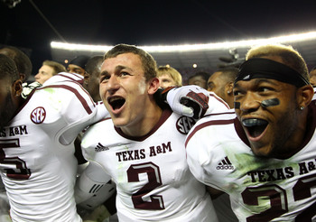 Heisman quarterback Johnny Manziel and teammates after upsetting Alabama in 2012.